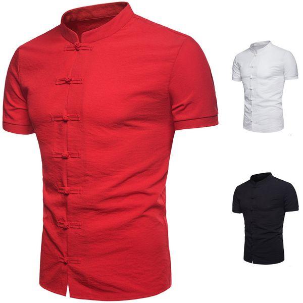 Camisas Moda Collar de pie Camisetas transpirable de manga corta Polos Estilo chino Camisa de botón superior de la camisa Nuevo algodón Color sólido Ropa de hombre