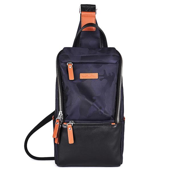 Nuevo paquete de pecho para hombre Sling Bolso de correa de hombro único Bolsa de viaje de cuero Lona de camuflaje Cofre de mochila