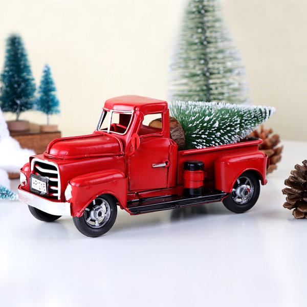 Red Metal Truck Weihnachtsfeier Dekoration Tischdekoration für Zuhause Kinder Geschenke Vintage Truck Hochzeit Festival Party Supplies