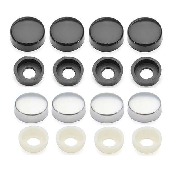 4x Plastic Screw Caps+Cap Holders Universal For Truck For Car ABS Chrome License Plate Frame Screw Nut Caps With Bolt Cover Set