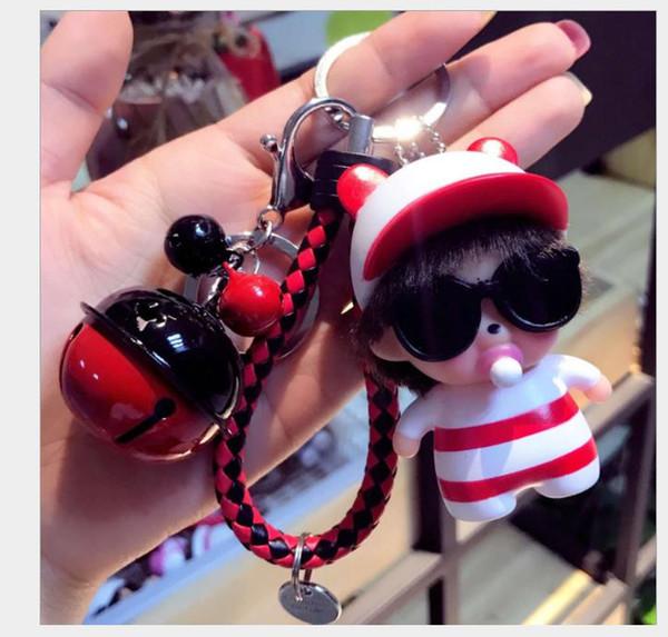 Creative cute Sunglasses key chain, men's women's car key chain ring bag Pendant