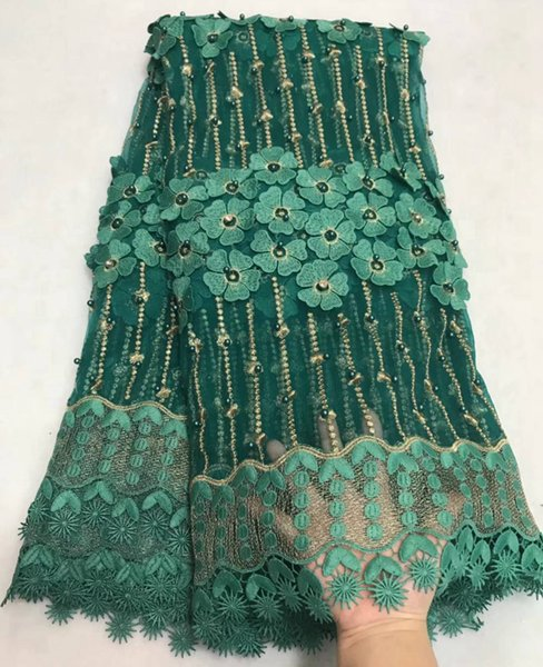 High Quality Mesh Beaded African Lace Fabric Latest Applique French Lace Fabric Guipure Bride Nigerian Lace Fabrics E98062502S