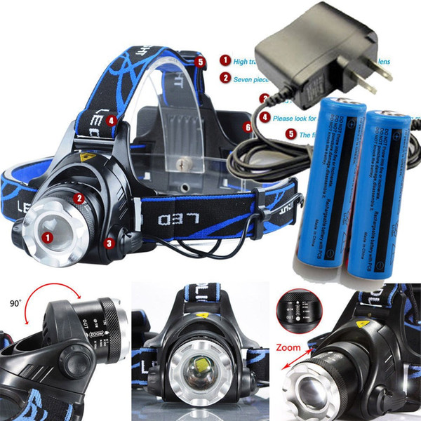 3 Modes 3800LM Tactical T6 Headight Cree XM-L Rechargeable T6 LED Headlamp Zoomable + 2x 18650 Battery + Charger