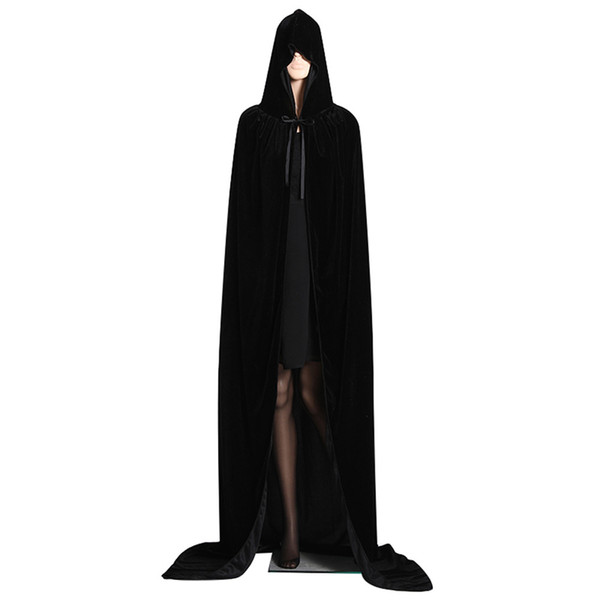 Party Supply Unisex Full Length Manto con capucha Cabo de terciopelo largo para Halloween Christmas Cape elegante traje de Cosplay para hombres de las mujeres al por mayor