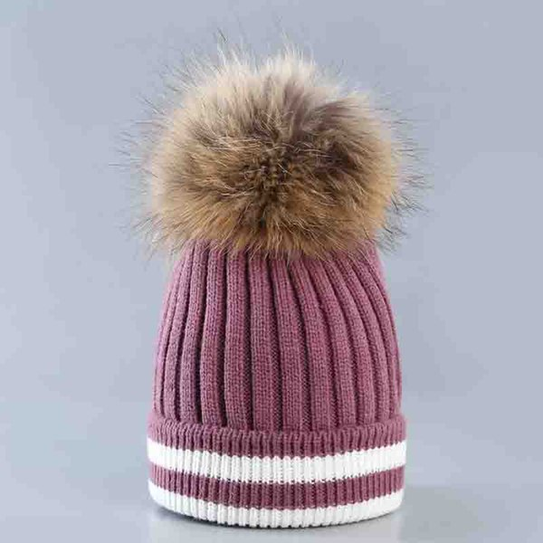 Women's Knit Hat Two-Color Wool Woven Hat Autumn Winter Striped Curling Wool With Raccoon Fur Ball Fashion Outdoor Warm