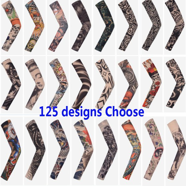 Arts Fake Fake Temporary Tattoo Arm Sunscreen Sleeves Body Arm Sleeve For Unisex Protective Sleeve Design Tiger Crown Heart Skull HH7-1799