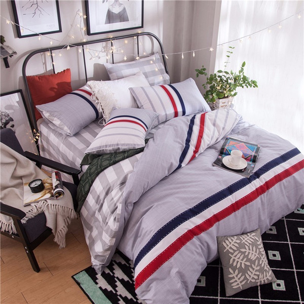 Textile Fashion Simple Striped Lattice Style 100% Cotton 4pcs Bedding Set Duvet Cover Bed Sheets Pillowcases 25 Colors