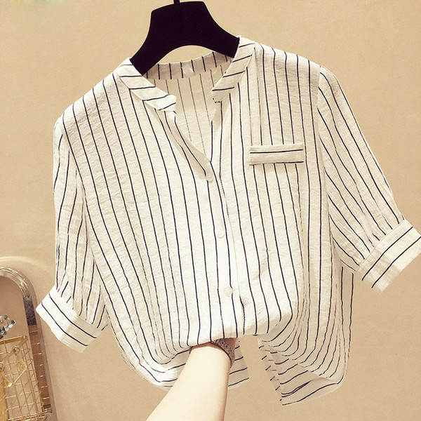New Design Women Spring Summer Style Chiffon Blouses Shirts Lady Casual Half Sleeve Striped V-neck Blusas Tops DD1894
