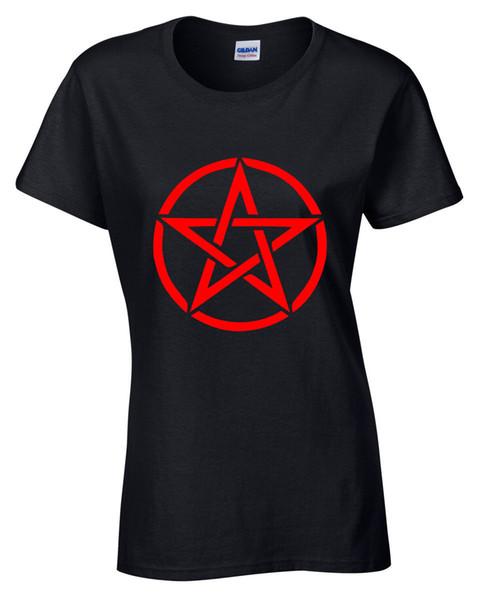 Pentagram T-Shirt Womens S-5XL goth rock punk metal gothic biker satanic red