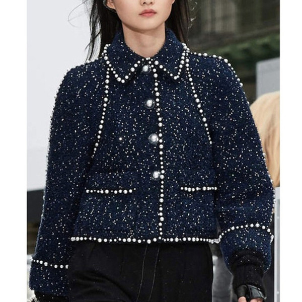QLZW 2018 Fashion New Turn-down Collar Pearl Patchwork Women's Jacket Trendy Autumn Tide Short Paragraph Clothes Coat BE508