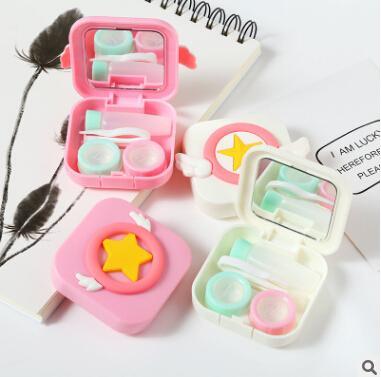 Contact Lens Box Travel Mini Storage Box Cute Cartoon Wings Box Girl Portable Holder Pink White