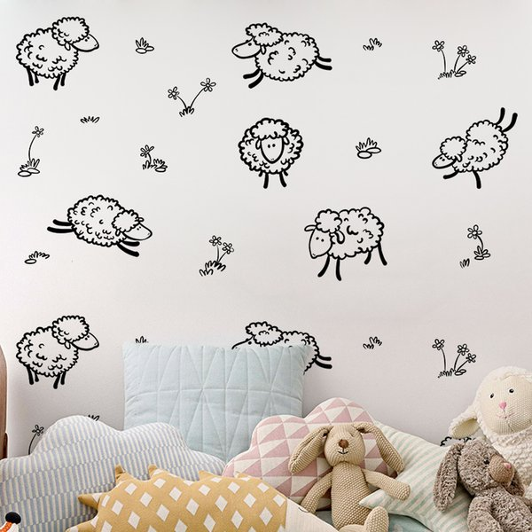 DIY Animal Cartoon sheeps Wall Stickers Mural Wallpaper Waterproof Removable Furniture Cabinets Art Creative Decal Kids Room Home Decorative