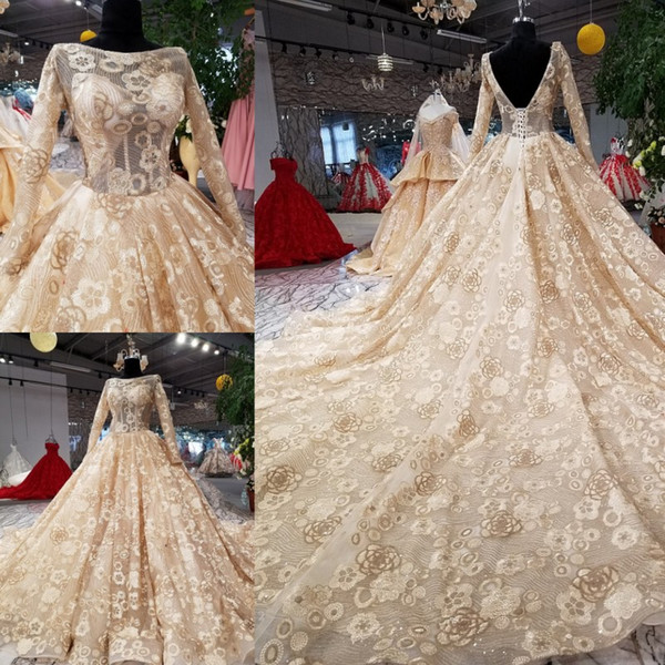 Sparkle Champagne Backless Long Sleeves Lace Ball Gown Wedding Dresses Bridal Dresses Events Dresses Custom Size 6 8 10 12 W307084