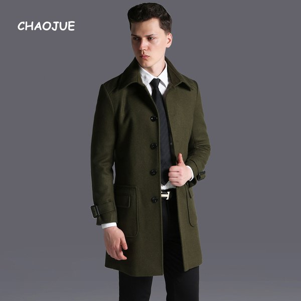 CHAOJUE Brand Europe Single Breasted Army Green Woolen Coat for man British Fashion Causal Gray Wool Overcoat Plus Size Outwear