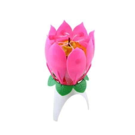 Amazing Romantic Musical Lotus Flower Happy Birthday Party Gift Music Candle