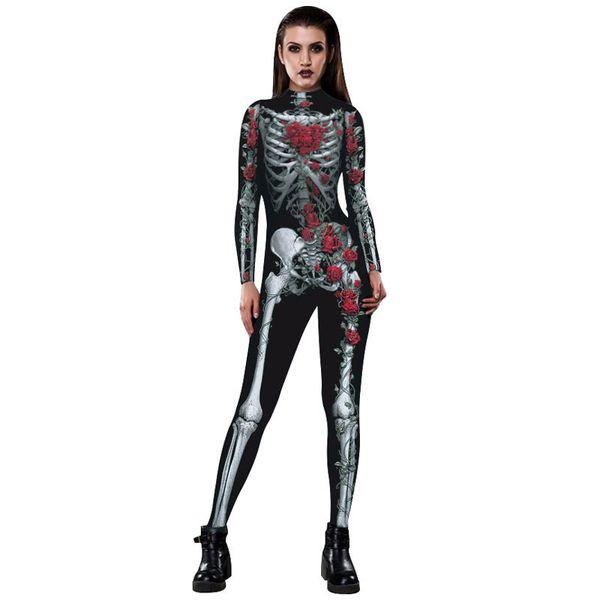 Cadılar bayramı Seksi Cosplay Kostüm Tulum Bodysuit Kafatası İskeleti Kırmızı Örümcek Kırmızı Siyah Palyaço Mor Örümcek Boyutu S-XL Ücretsiz Kargo