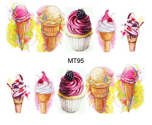1 Sheet Nail MT95 Beauty Ice Cream Full Cover Nail Art Water Transfer Sticker Decal For Tattoo Tips Tools