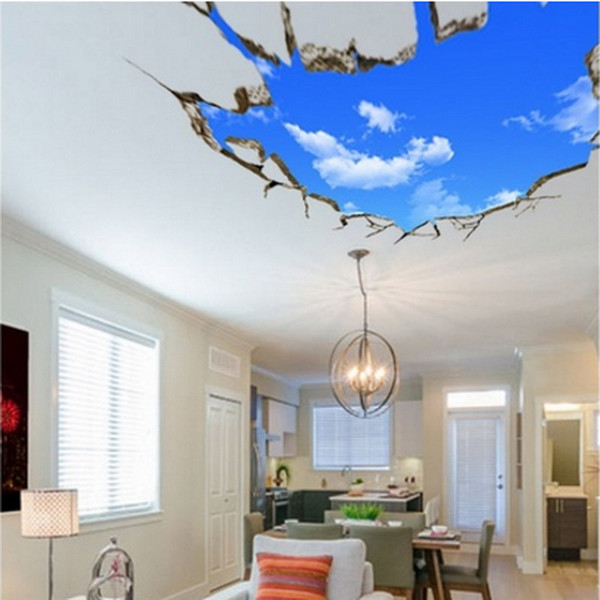 Landscape Blue Sky White Cloud 3D Wall Sticker Creative Home Decal For House Living Room Roof Sticker Wall Decal