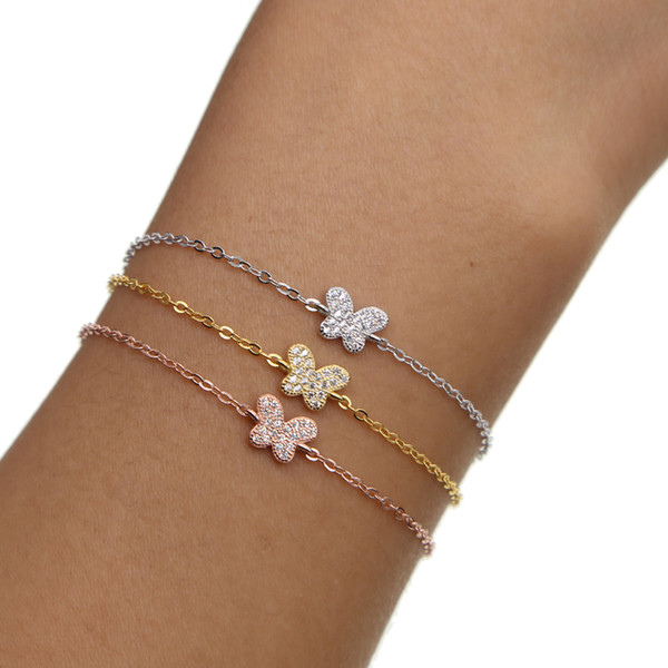 2018 New fashion Special Offer Charm Bracelets Women Cute girls Butterfly Charm Micro Pave Cz 3 Colors 925 Sterling Chain Beautiful Bracelet