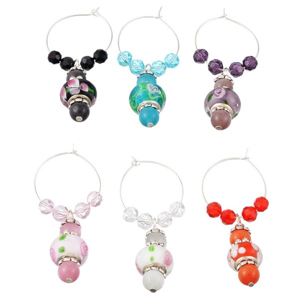 6PCs Mixed Wine Charms Crystal/European Charm Beads Gifts Table Wedding Party Decorations Party Supplies Table Decoration