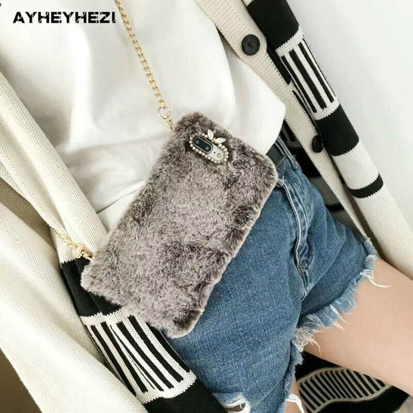 50PCS/LOT Winter Warm Fluffy Fur Crossbody Phone Case Cover With Long Chain For iPhone XR XS MAX 8 7 6S X Plus Case Wholesale