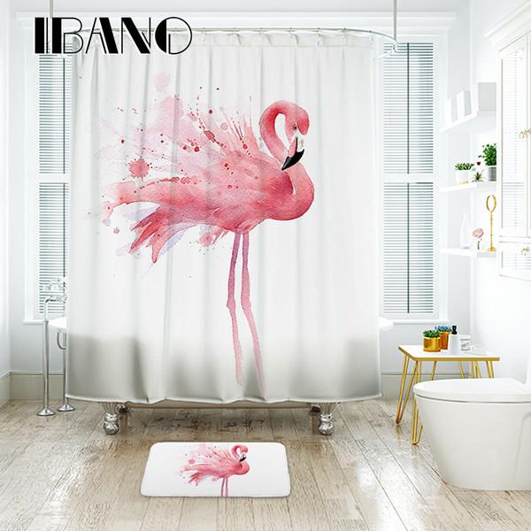 Tenda da bagno impermeabile del tessuto del poliestere della tenda della doccia di fenicottero di IBANO per il bagno con la plastica del pavimento di 12 ganci di plastica dei pc