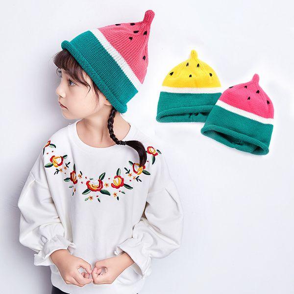 Winter Knit Hats Watermelon Design Children Girl Toddler Crochet Knitted Hats Rabbit Ears Casquette Girls Cap