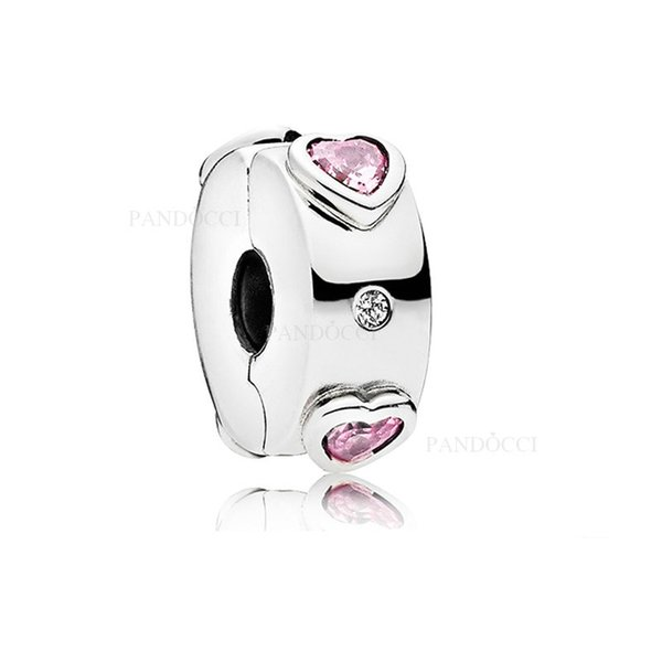 2018 New Authentic 925 Sterling Silver Explosion Of Love With Crystal Clip Stopper Beads Charm Fit Pandora Bracelet Bangle DIY Jewelry