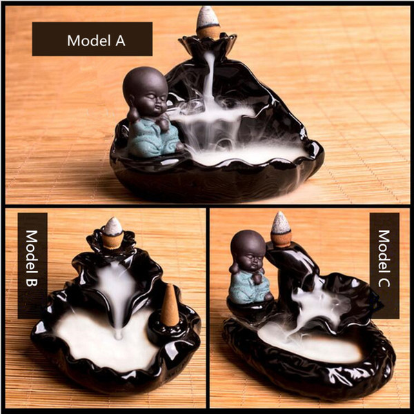 1PC Good quality China Ceramic Incense Burner Lotus Pond Style Cone&Coin Incense Holder with Decor Monk doll Ornament
