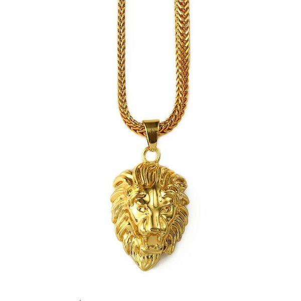 2018 Mens Gold Lion Head Charm 29.5inch Franco Chain Hip Hop Golden Crown King Lion Pendant Necklace Men Women