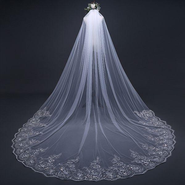 300*300cm White/Ivory Veil with Comb Lace Hem Long Wedding/Bride Veils One Layer Super Long