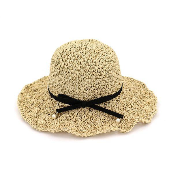 ac77a9c2 New Women Sun Hats Summer Female Wide Large Brim Foldable Straw Hat Bowknot  Accessories Women Sunscreen Cap Beach Bucket Hat