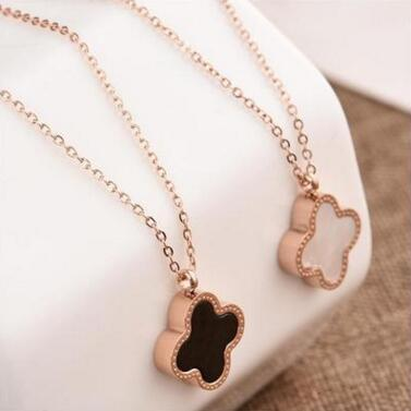 Double Side Shell Clover Necklace Rose Gold Lucky Four Leaf Clover Pendant Chains fashoin jewelry for Women