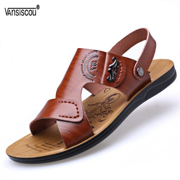 VANSISCOU Hot Sale Summer Soft PU Leather Sandals Brand Quality Cheap Beach Men Sandals Open Toe Male Casual Slippers Shoe Homme