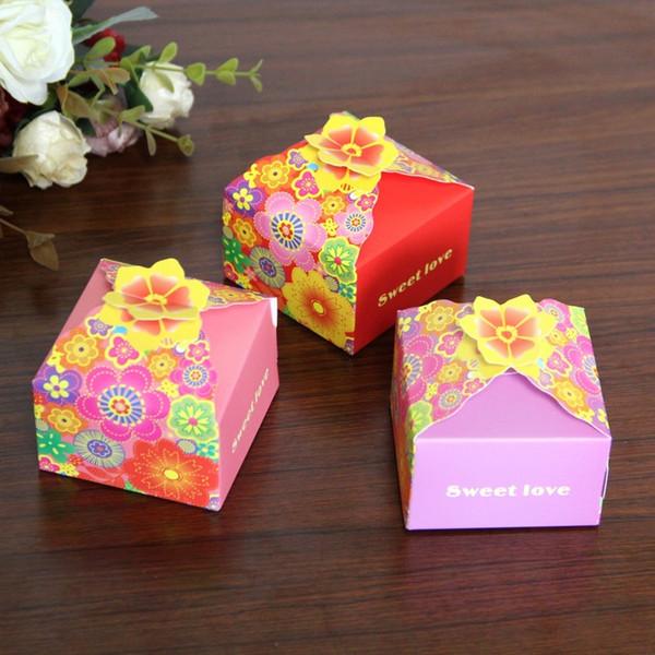 2019 New Wedding Candy Box Petali colorati Bomboniere Scatole Regalo Scatole di carta Baby Shower Party Supplies Vendita calda