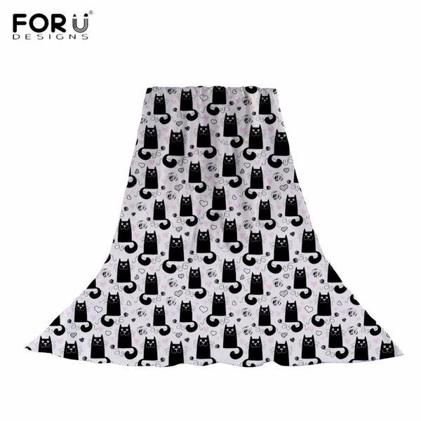 FORUDESIGNS Kawaii Black Cat/Kitten Print Women Long Silk Chiffon Scarf Brand Design Girls Shawls Fashion Spring/Autumn Muffler