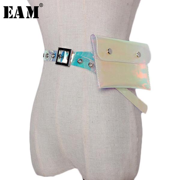 [EAM] 2018 New Autumn Personality Transparent Color Buckle PVC Holes Mini-bag Lon Women Fashion Tide All-match JE44100