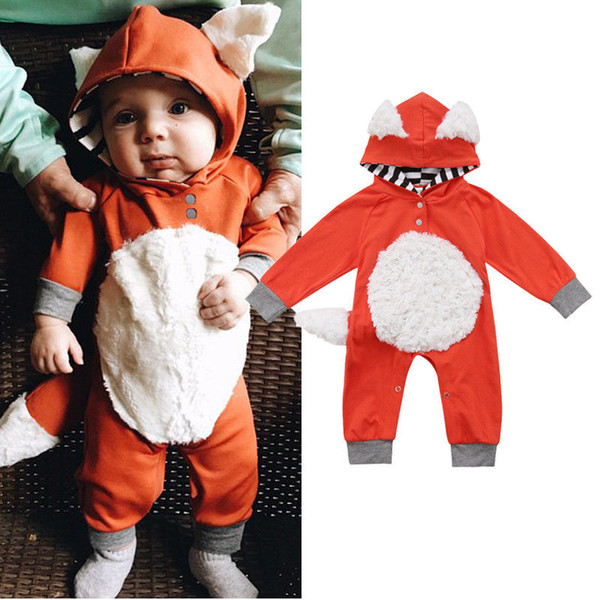 top popular Newborn Baby Boys Girls 3D Fox Hooded Romper Jumpsuit Outfits Clothes Cut Kids Animal Bodysuit Halloween Costume Clothing 2020