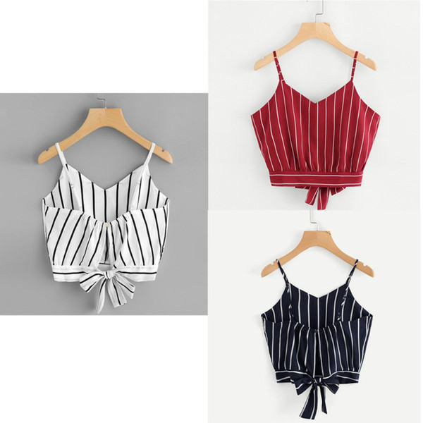 Summer Lady's Strap Bow Tie Jacket Crop Top Summer Tops for Women White Red Black Plus Size Tank Tops Women Off the Shoulder Top