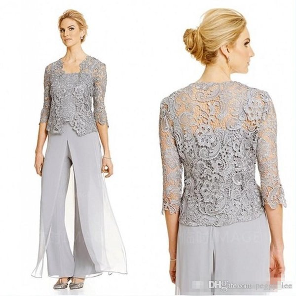 New Lace Silver Mother of The Bride Groom Dresses with Pants Suits Long Sleeve Jacket Chiffon Beach Plus Size Wedding Guest Party Gown