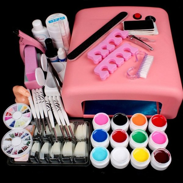 Kaizm UV Gel Nail Art Kits 36W Nail Dryer Lamp Manicure UV Gel Polish Set French Tips UV Gel Brush Glitter Powder Nail Extension Y18100907