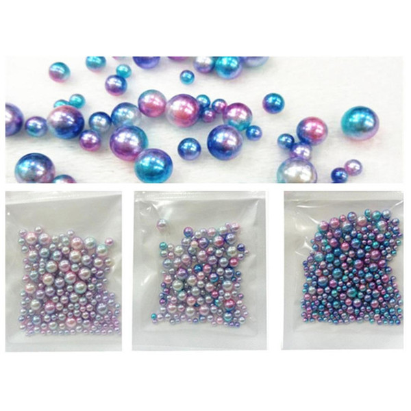 Nail Merimaid Ball 3D Round Pearl Blue Pink Magic Unicorn Colorful Glitter Color Size Mixed Nail Art Decoration Beads Diy Crafts