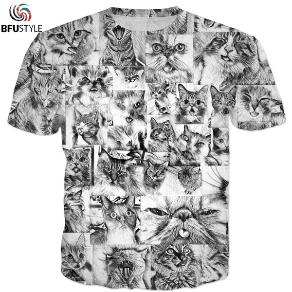 Ahegao Cats Hentai Anime T-Shirt Men 2018 New Fashion Hip Hop Streetwear Graphic Tops Casual Summer Tees 3D Tshirt T-shirt 3XL