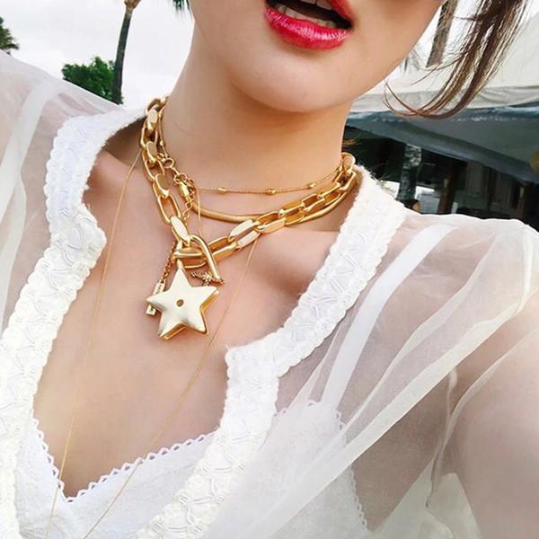 Rongho Vintage Metal Stars колье колье для женщин, панк бижутерия, золотое звено цепи CHUNKY, ожерелье, звезды, кулон, бижутерия