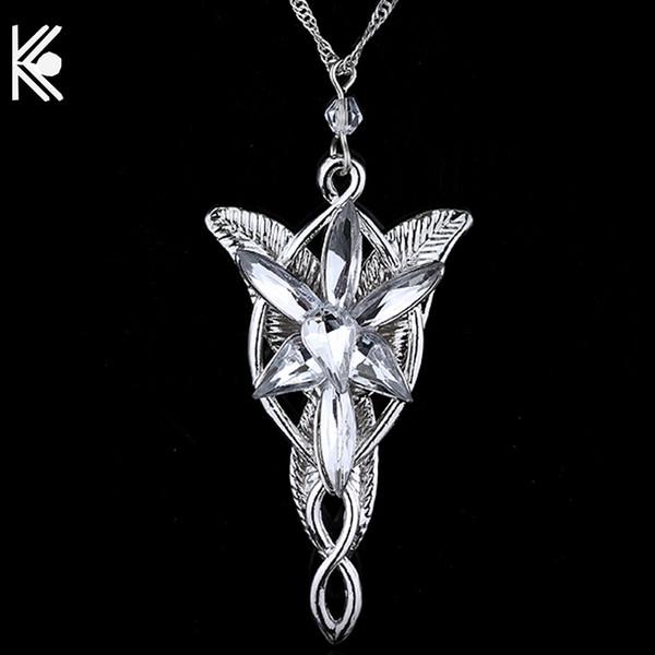 20 pçs / 1 lote Arwen Evenstar Colar The Elves Princesa Moda Cristal De Prata Cubic Zirconia Pedra Pingente Para As Mulheres Presente de Casamento