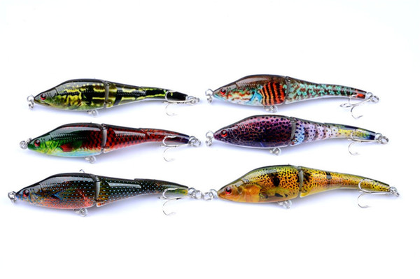 18 New 6pcs/lot 3 Sections VIB Fishing Lures Painting Series Wobblers Crankbaits Artificial Hard Baits Pesca China Free Shipping