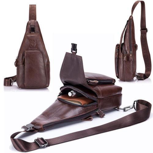 83af0de6ba50 Mens Leather Sling Backpack Shoulder Chest Pack Crossbody Bags Satchel Cycle