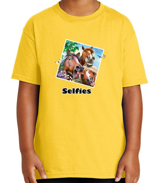Zoo Party Wear Kid's T-shirt Horses Smiling Selfies Tee for Youth - 1750C T shirt O-Neck Summer Personality Fashion Men T-Shirts