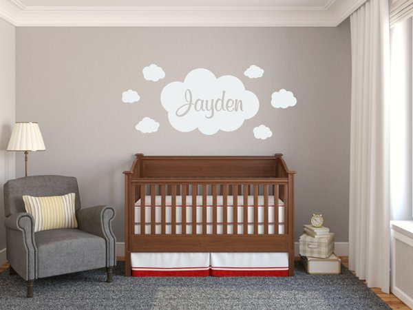 Baby Personalized Name Wall Decal,Clouds Patterned Nursery Stickers For  Baby Girl BedRoom Decor Stickers For Removable Wall Decal Removable Wall ...