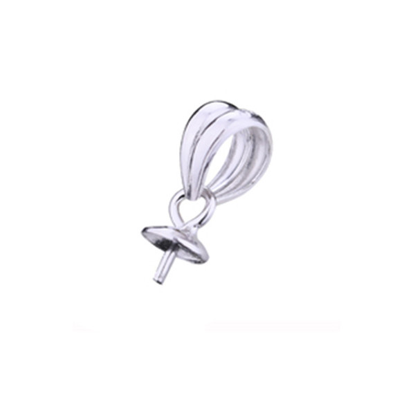 Fine Silver 925 Sterling Silver Pendant Clasp Engagement Wedding Women Semi Mount Pendant 7-12mm Pearl or Round Bead Setting